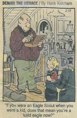 Dennis the Menace discussing Mr. Wilson being an Eagle Scout Mister Wilson the Eagle Scout.jpg