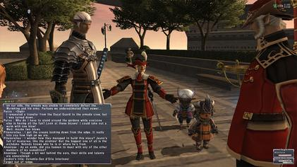 A player engages in a dialog sequence to advance the story. IngameimageFinalFantasyXI.jpg