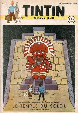 The first issue of Tintin magazine included an image based upon Prisoners of the Sun.