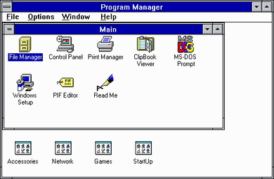 File:Program Manager.png - Wikipedia, the free encyclopedia: en.wikipedia.org/wiki/File:Program_Manager.png