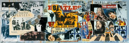 Collage of the three covers of The Beatles Anthology, created by Klaus Voormann.