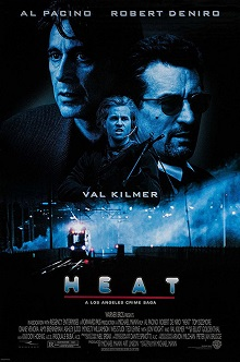 Heat (1995 film) movie poster with title and picture of the actors Robert De Niro, Val Kilmer and Al Pacino