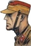 Drawing of an SA trooper wearing red unit colors, indicating assignment to an SA Group Staff