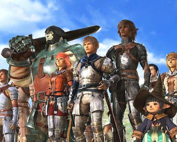 The playable races in Final Fantasy XI. From left to right: Galka, Mithra, Hume, Elvaan, and Tarutaru. The five races of FFXI, opening movie screenshot.jpg