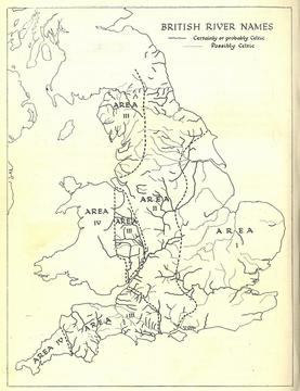 Kenneth Jackson's map showing British river names of Celtic etymology, thought to be a good indicator of the spread of Old English. Area I, where Celtic names are rare and confined to large and medium-sized rivers, shows English-language dominance to c. 500–550; Area II to c. 600; Area III, where even many small streams have Brittonic names to c. 700. In Area IV, Brittonic remained the dominant language 'till at least the Norman Conquest' and river names are overwhelmingly Celtic.[36]