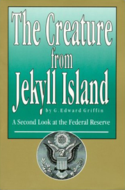 Griffin's 1994 book, The Creature from Jekyll Island, draws parallels between the Federal Reserve and a bird of prey, as suggested by the Great Seal of the United States on its cover.