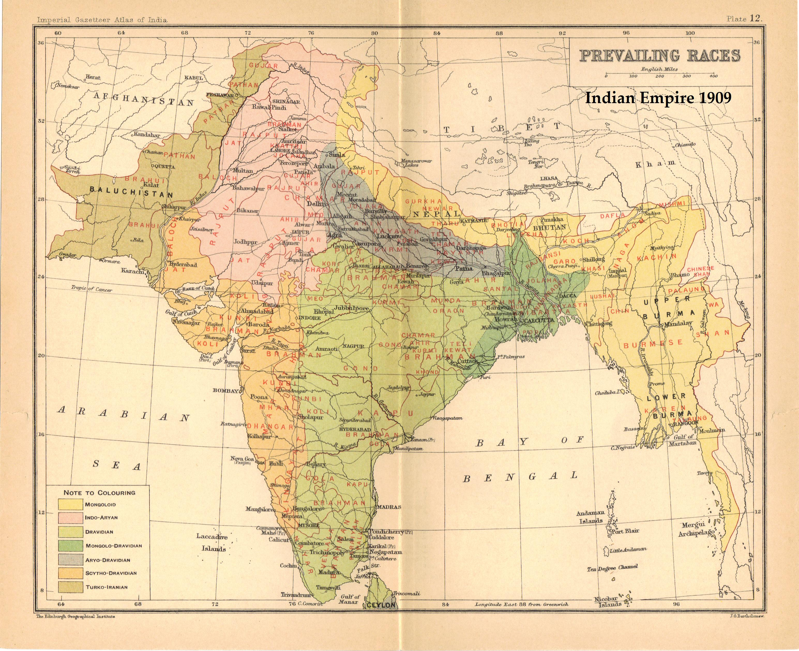 FileIndiaPrevailingRacesJPG Wikipedia - Map of united provinces india