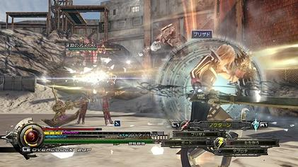 The Lightning Returns: Final Fantasy XIII battle system, with the ATB meters for Lightning's garb, the available abilities of the current garb, and the EP visible. The enemy's health and stagger meter are visible above it. Lightning Returns; Final Fantasy XIII gameplay.jpg