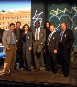 Main police cast of season three of NYPD Blue, l-r Turturro, Smits, Delaney, McDaniel, Miceli, Clapp, Franz