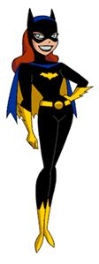 Batgirl as depicted in The New Batman Adventures: Black bodysuit and cowl; yellow bat emblem, belt, scalloped gloves, boots, and cape lining; blue cape; and red hair.
