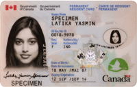 Example PR Card Copyright Government of Canada