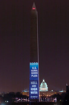 The Washington Monument illuminated with a message from Greenpeace criticizing American environmental policy H&WWonWashMon.png