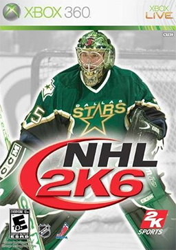 The cover of NHL 2K6 featuring the Dallas Stars' Marty Turco.
