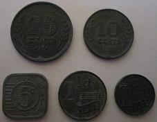 Zinc coins minted in the 1940s during the German occupation of the Netherlands (reverse). Zinc coins Netherlands 1940s World War II reverse.jpg