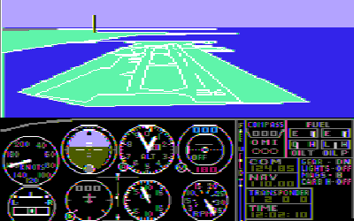 FS 1.0 – This image is of FS 1.0 displaying color on a composite monitor.[4] The game does have support for RGB monitors, but in monochrome only.