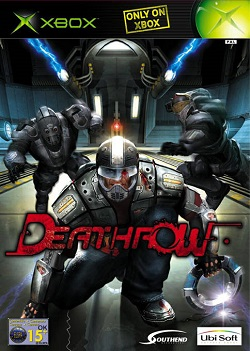 Padded man with helmet crouches with circular disc in an arena behind the red Deathrow logo inlaid as the Xbox game's European cover art