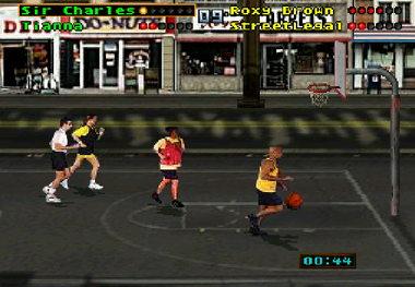 Gameplay screenshot from the unreleased Atari Jaguar version of Barkley Shut Up and Jam!, showcasing a match in Chicago. JAG Barkley Shut Up and Jam!.png