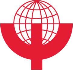 The WPA logo consists of the Greek letter Psi superimposed on an abstract globe, such that the globe's southern hemisphere is set within the curved part of the letter.