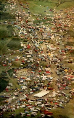 Sky view of the Castlemorton Festival site.