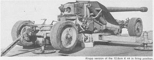 "photo of 12.8cm Pak 44 from By ""German Artillery Of World War Two"" by Ian V. Hogg, Fair use, h"