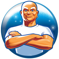 Mr. Clean brand name and mascot fully owned by Procter & Gamble used for a cleaning solution and related products