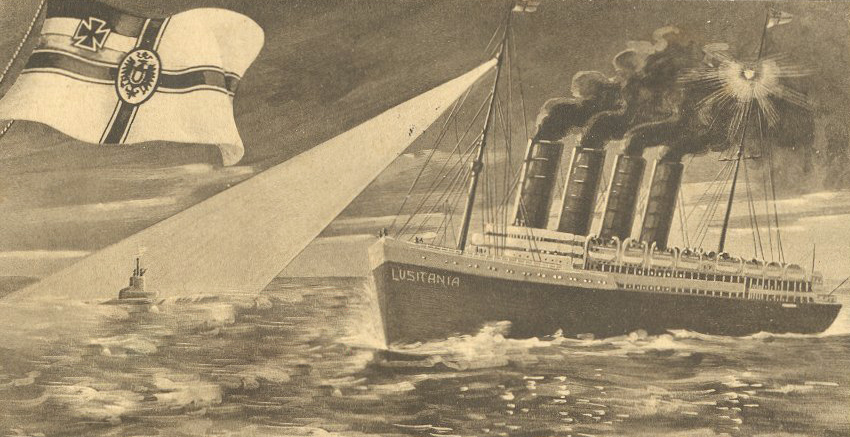 Postcard depicting SM U-20 sinking of RMS Lusitania. 1915