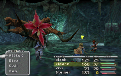 In this early boss battle, Steiner attacks the enemy while Zidane awaits the player's input. Ff9 screenshot bossbattle.png