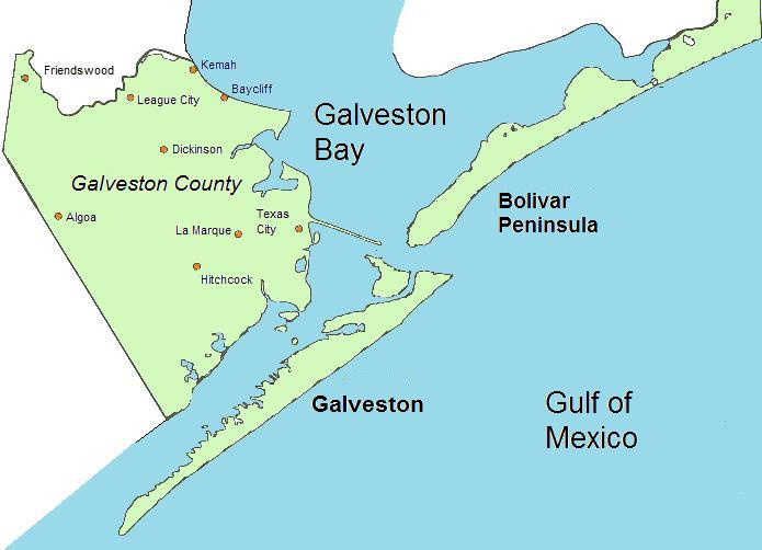 A map of the area at the mouth of Galveston Bay showing Galveston county which encompasses
