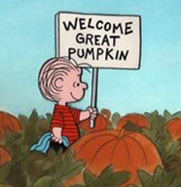 Linus awaits the Great Pumpkin.