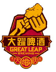 "A golden hand lifting up a similarly-colored mug of beer on a red background. Below it is the name ""Great Leap Brewing"" in Chinese and English. Several other Chinese character and symbols are in small circles of varying sizes below."