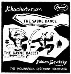 "The cover of a 1953 record of the ""Sabre Dance"" by the Indianapolis Symphony Orchestra. Khachaturian Sabre Dance cover Indianapolis Symphony 1953.png"