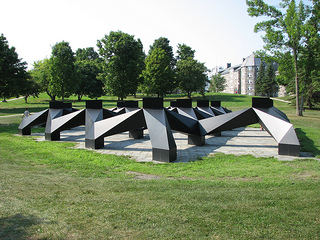 <i>Smog</i> (1/3) public artwork by American artist Tony Smith; located on the Middlebury College campus, Middlebury, Vermont, USA