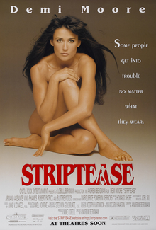 "A nude woman sits down and looks straight at the camera. Beside her is the tagline ""Some people get into trouble no wonder what they wear."" while the film's title and credits are below her."