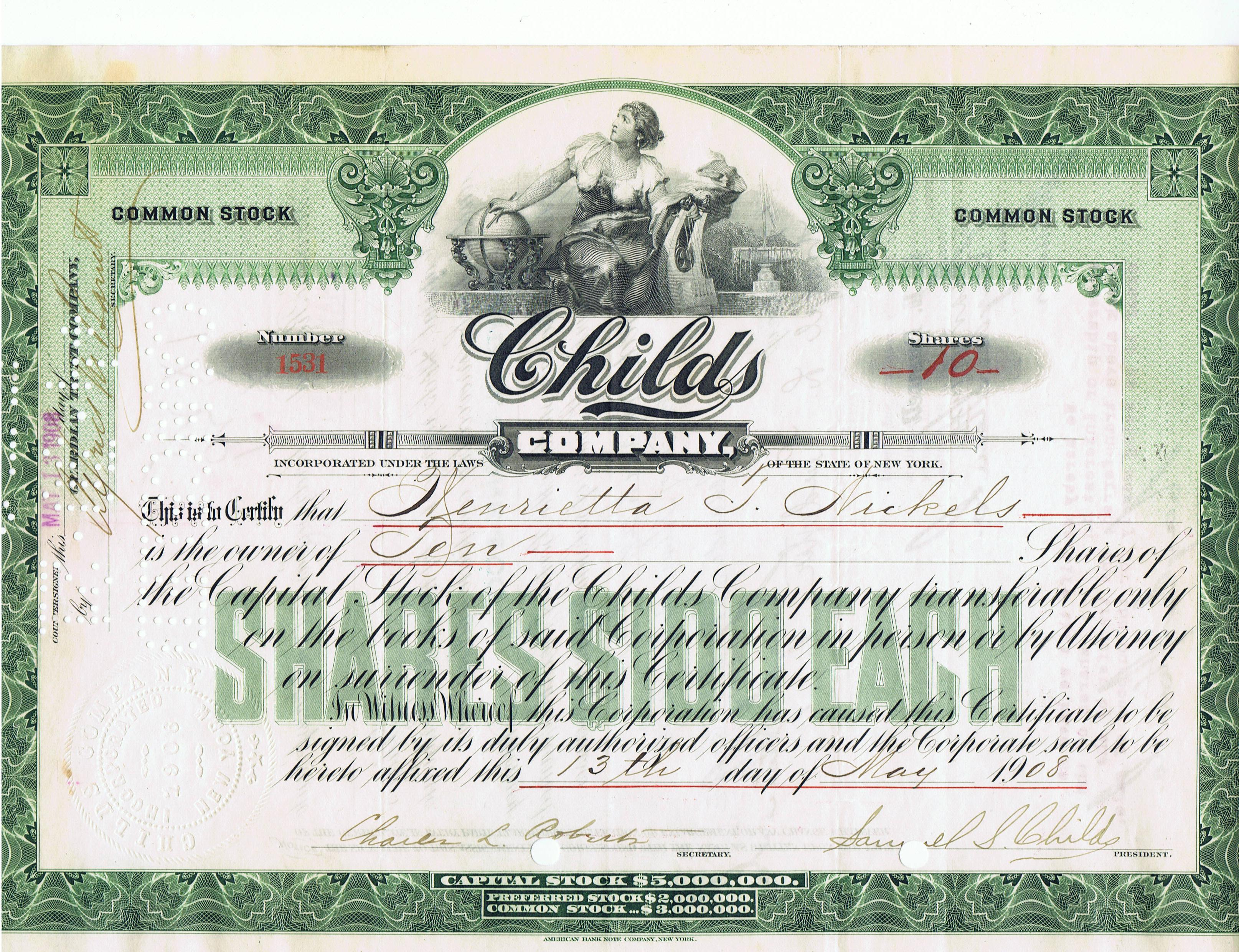File Childs Company Stock Certificate 1908 Jpg Wikipedia