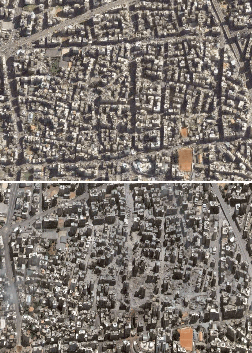 "Satellite photographs of the Haret Hreik, a Hezbollah-dominated neighborhood Dahieh district of southern Beirut, Lebanon, before and after 22 July 2006. The neighborhood is home to Hezbollah's headquarters. See also high resolution photographs before and ""after"". Archived from the original on 21 August 2007."