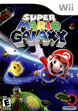 The game's cover art shows Mario flying through space alongside a Luma, a small star-shaped creature