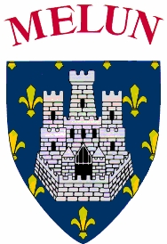 """Melun Shield dating from the 15th century – """"Melun (Seine-et-Marne): Azure on a semy-de-lys or a castle with three towers argent. Melun was one of the original strongholds of the royal domain. Motto: fida muris usque ad mures, recalling the siege of 1420 when inhabitants had to eat rats."""" http://www.heraldica.org/topics/france/frcitdep.htm"""