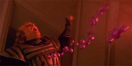 A Klingon bleeds out in zero gravity