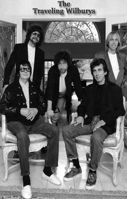 The Traveling Wilburys in May 1988 (top: Jeff Lynne, Tom Petty; bottom: Roy Orbison, Bob Dylan, George Harrison)