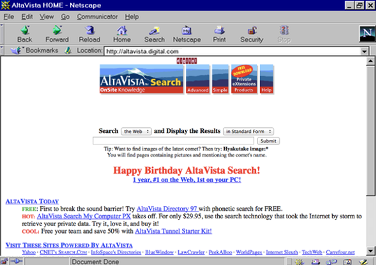 Screenshot of the AltaVista search engine in November 1996