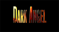 "The words ""Dark Angel"", written in flames against a black background"