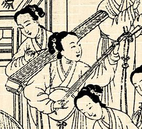 Court musician playing a yaqin (left)