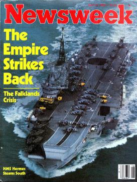 The cover of Newsweek magazine, 19 April 1982, depicting HMS Hermes, flagship of the British Task Force. The headline evokes the 1980 Star Wars sequel. The empire strikes back newsweek.jpg
