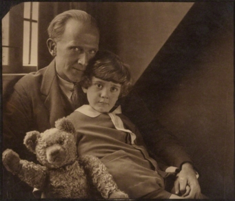 A. A. Milne with his son Christopher Robin Milne and Pooh Bear - Howard Coster - NPG P715.jpg