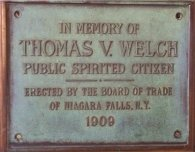 Plaque dedicated to T.V. Welch at Niagara Falls Tvwelch hennepin.jpg