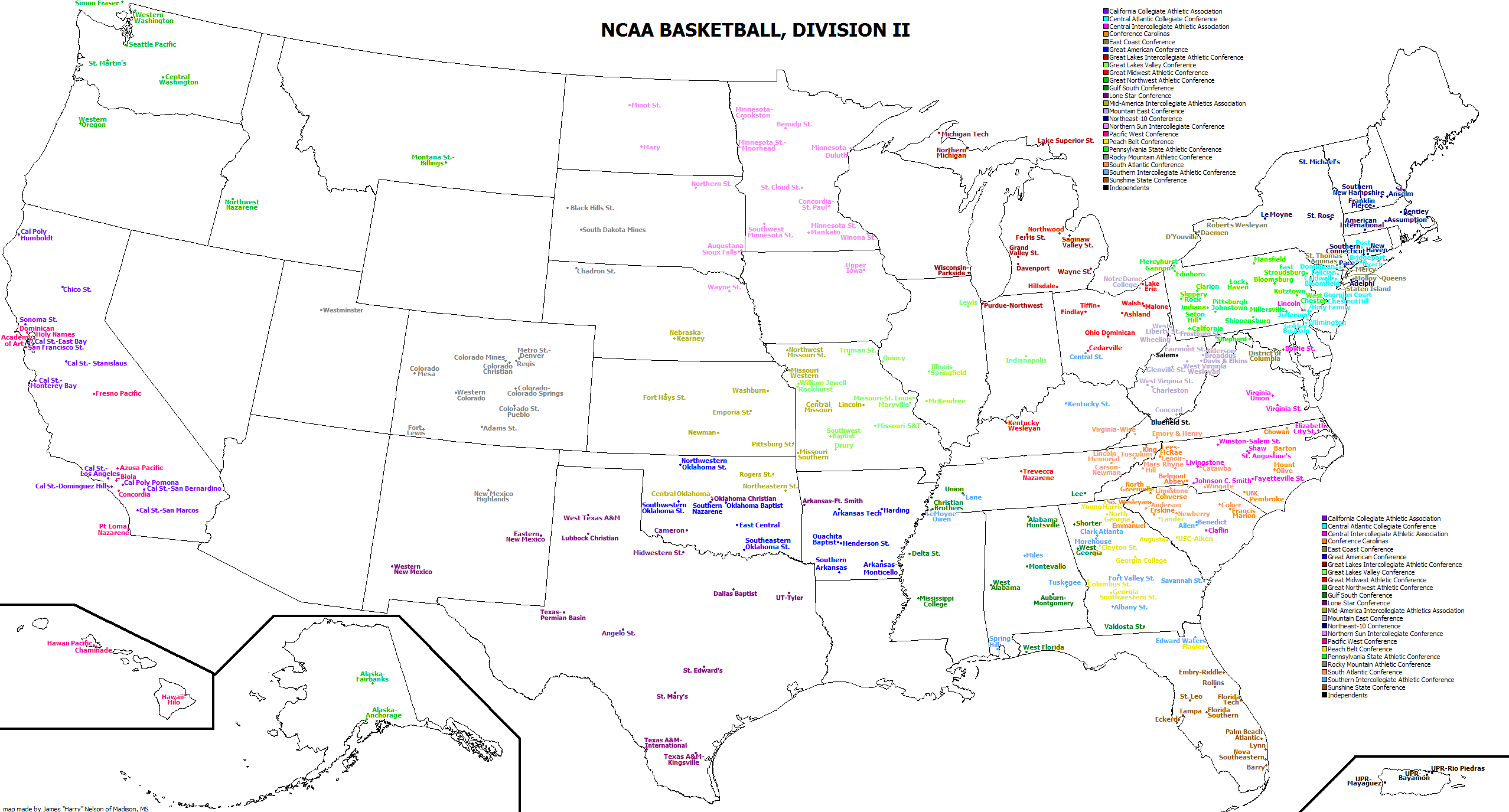 Map Of Colleges In Georgia.List Of Ncaa Division Ii Institutions Wikipedia