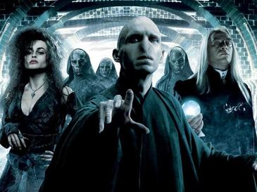 Bellatrix LeStrange, Voldemort, and Lucius Malfoy, some of the DEATH EATERS