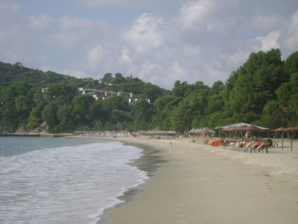 Koukounaries is the most famous beach of Skiathos, Greece.