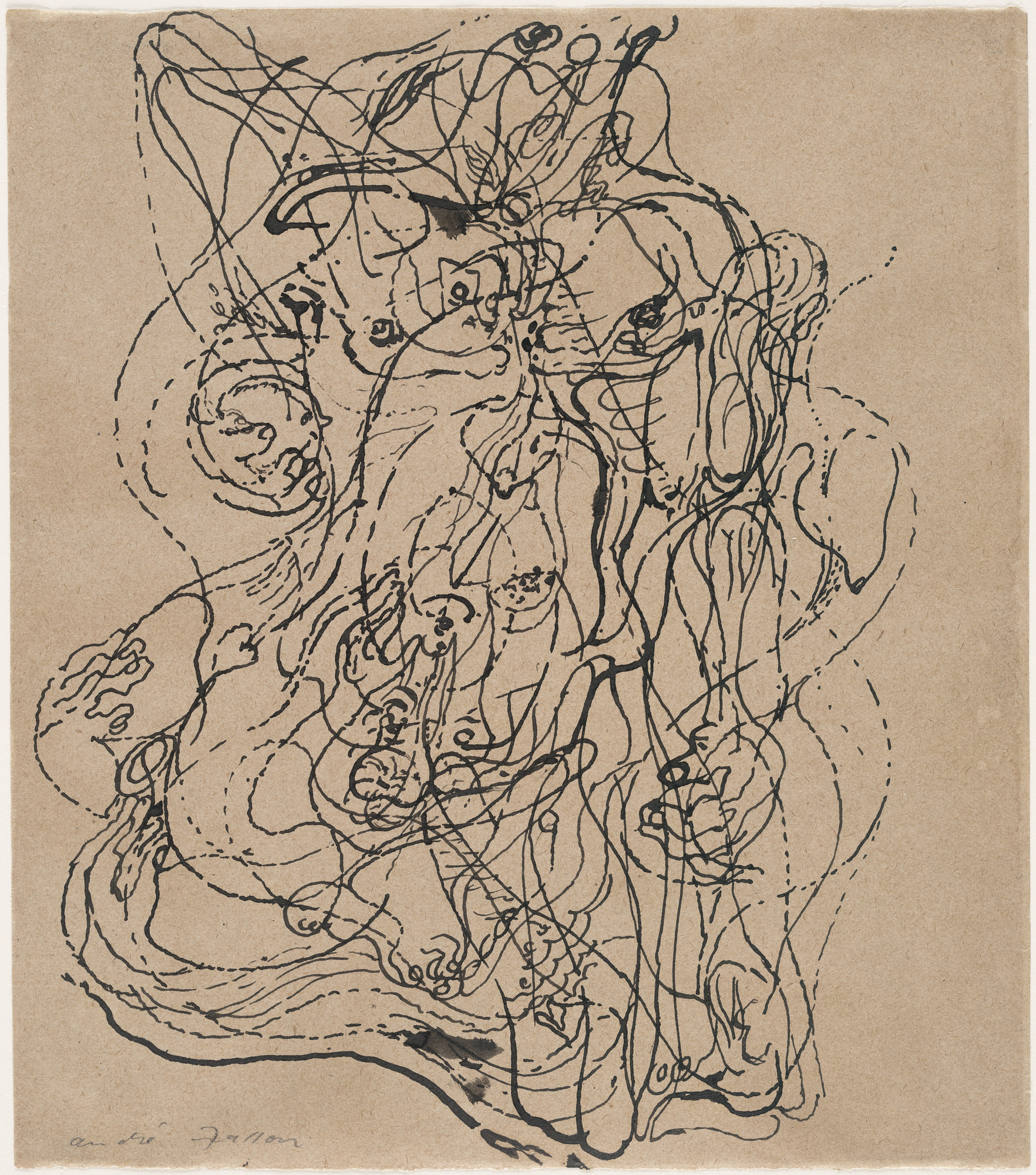 André Masson. Automatic Drawing. 1924. Ink on paper, 23.5 x 20.6 cm. Museum of Modern Art, New York. - Surrealism