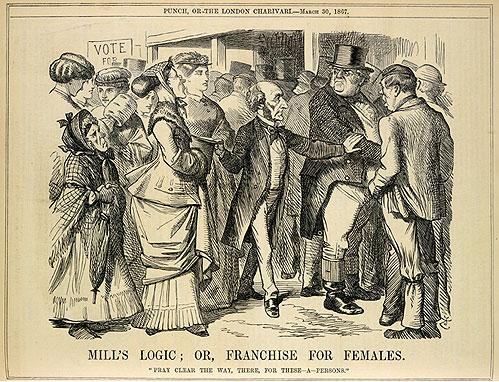 "A Punch cartoon from 1867 mocking John Stuart Mill's attempt to replace the term 'man' with 'person', i.e. give women the right to vote. Caption: Mill's Logic: Or, Franchise for Females. ""Pray clear the way, there, for these - a - persons."" Mill's logic 1867.jpg"